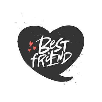 Melhor amigo letras citação escova caligrafia manuscrita tipografia do dia da amizade