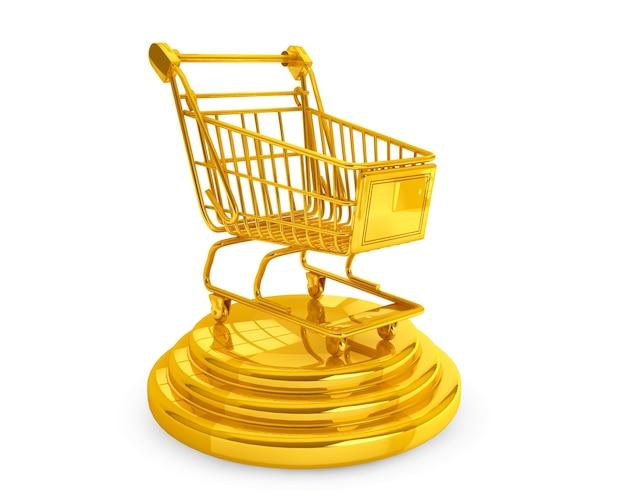 Melhor conceito de vendedores. carrinho de compras dourado em um fundo branco