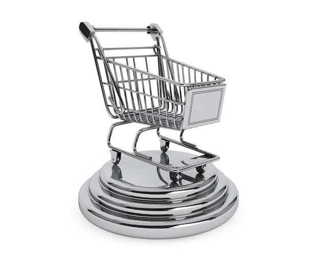 Melhor conceito de vendedores. carrinho de compras prateado em um fundo branco