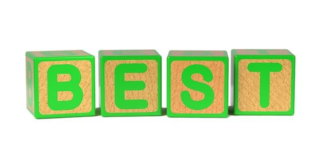 Melhor no bloco do alfabeto das crianças de madeira coloridas isolado no branco.