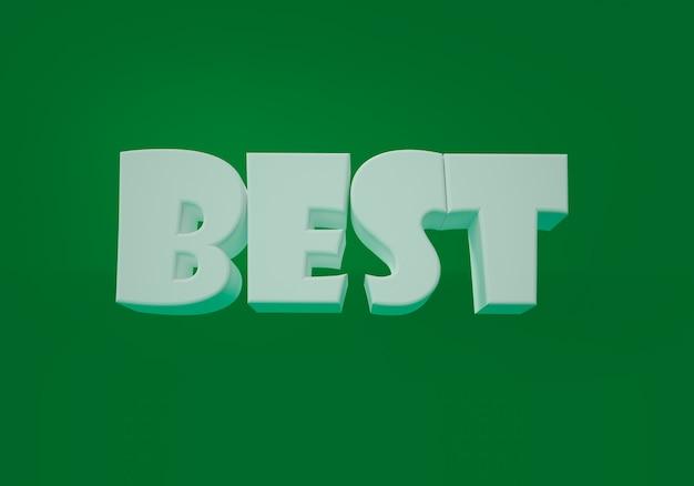 Melhor palavra sobre fundo verde. ilustração 3d.