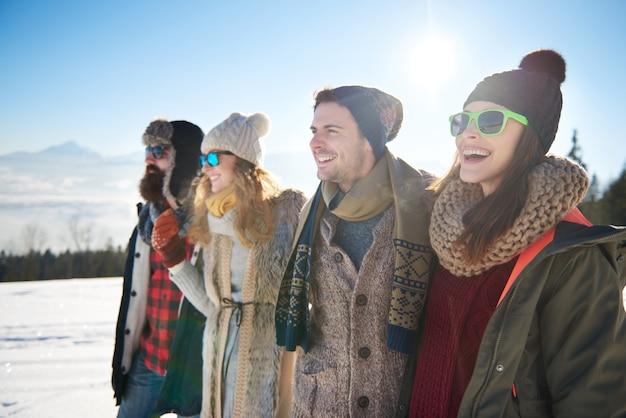 Melhores amigos no inverno