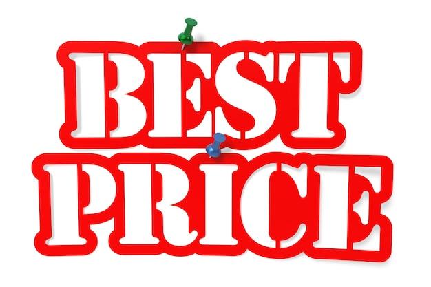 Melhores preços do estêncil. isolado no branco, renderização em 3d