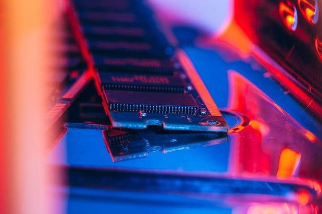 Memória de acesso aleatório do computador close-up