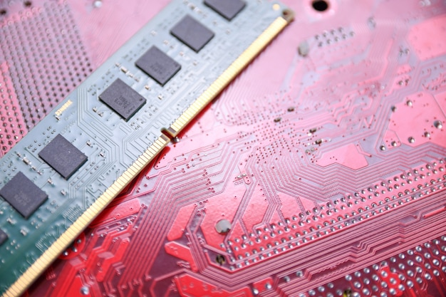 Memória de computador ram na placa-mãe
