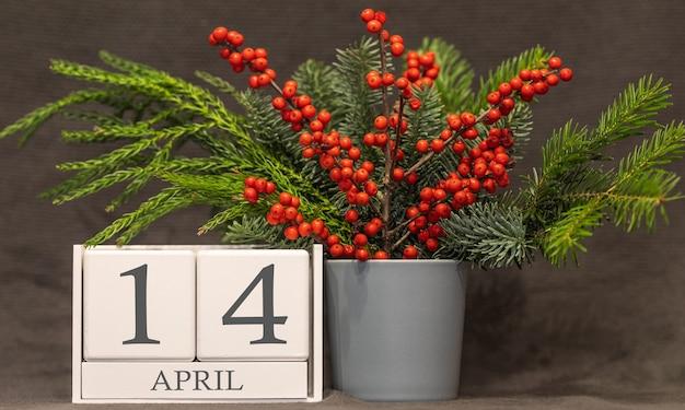 Memória e data importante 14 de abril, calendário de mesa - estação da primavera.
