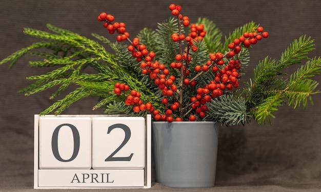 Memória e data importante 2 de abril, calendário de mesa - estação da primavera.