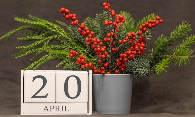 Memória e data importante 20 de abril, calendário de mesa - estação da primavera.