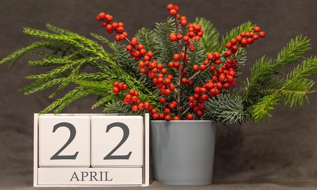 Memória e data importante 22 de abril, calendário de mesa - estação da primavera.