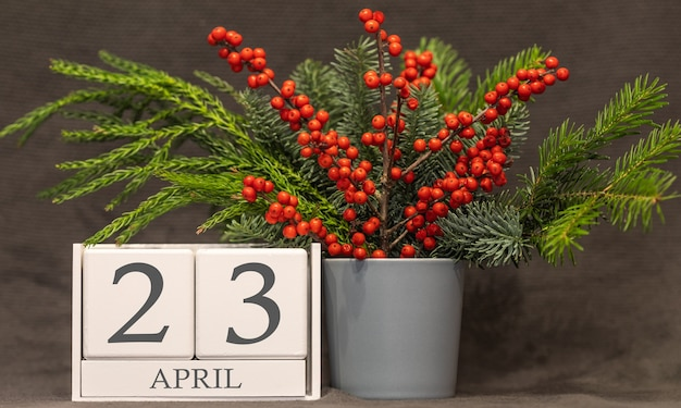 Memória e data importante 23 de abril, calendário de mesa - estação da primavera.