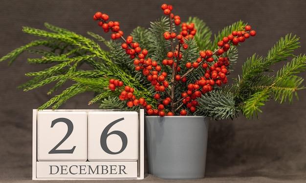 Memória e data importante 26 de dezembro, calendário de mesa - temporada de inverno.
