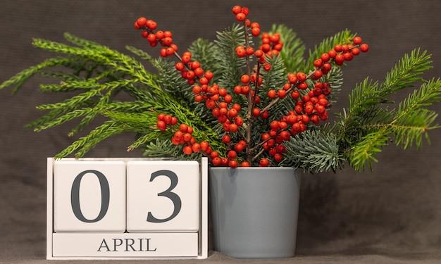 Memória e data importante 3 de abril, calendário de mesa - estação da primavera.