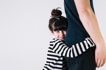 Menina, abraçar, colheita, pai