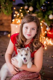 Menina adolescente com cachorro husky ao lado da árvore de natal