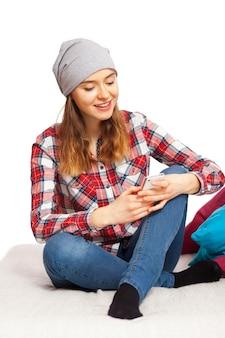 Menina adolescente, com, um, smartphone