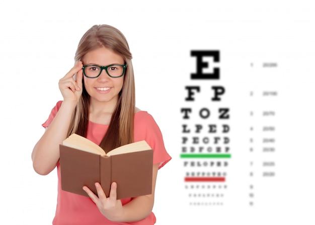 Menina adolescente de estudante com óculos