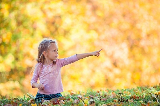 Menina adorável no lindo dia de outono ao ar livre