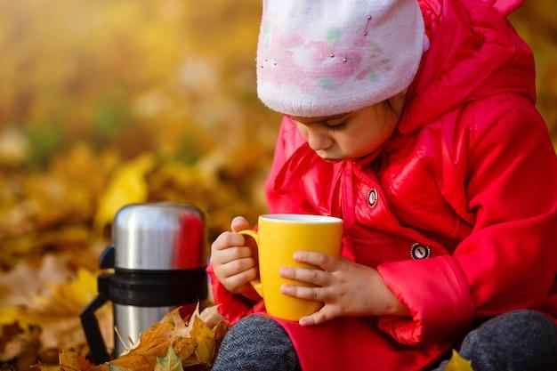 Menina adorável no parque outono.