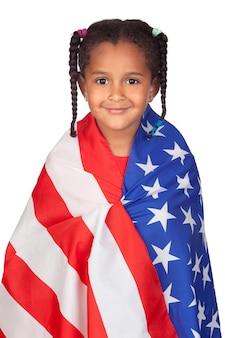 Menina africana com uma bandeira americana