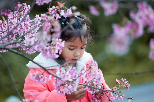 Menina asiática bonito da criança que aprecia com o jardim cor-de-rosa bonito da flor de cerejeira