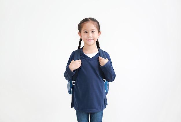Menina asiática com mochila
