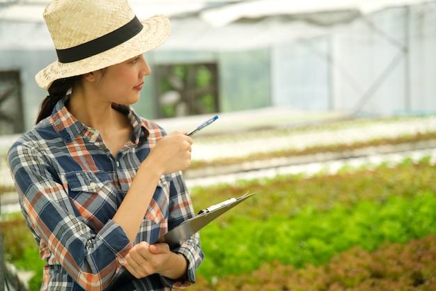 Menina asiática do fazendeiro novo bonito que verific a qualidade e a quantidade de vegetais na exploração agrícola hidropónica