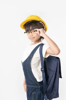 Menina asiática estudante tailandês quer ser engenheiro