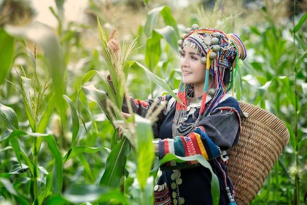 Menina asiática na suíte hmong em campos de milho