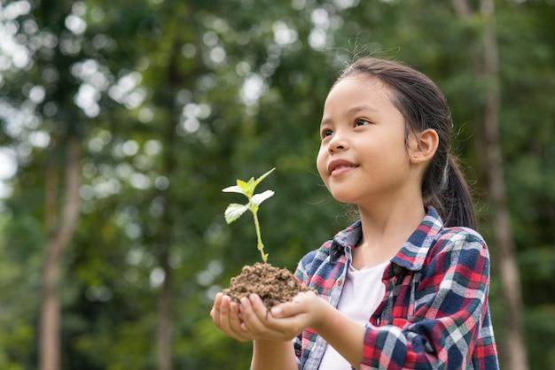 Menina asiática, segurando, planta, e, solo