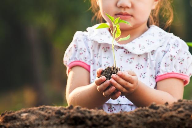 Menina bonita criança asiática segurando uma árvore jovem para plantar no solo preto no jardim com diversão