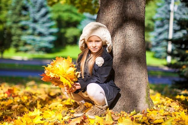Menina bonita da forma que senta-se sob uma árvore com o ramalhete das folhas de bordo no dia ensolarado do outono