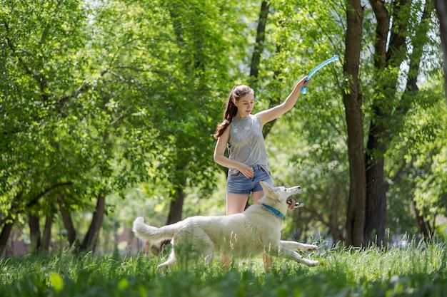 Menina bonita jovem jogando para seu cachorro em um parque ao pôr do sol