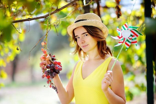 Menina bonita nova que escolhe a uva madura no dia ensolarado em itália. feliz fazendeiro feminino trabalhando no pomar de fruta