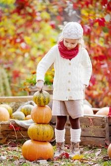 Menina bonitinha brincando com abóboras no parque outono. atividades de outono para crianças. adorável menina constrói uma torre de abóboras. dia das bruxas e diversão de tempo de ação de graças para a família.