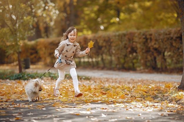 Menina bonitinha caminha em um parque outono com um cachorro