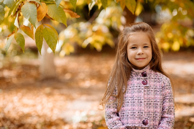 Menina bonitinha de 5 anos com folhas de laranja no outono no outono no parque