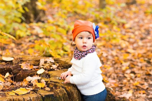 Menina bonito na floresta de outono.