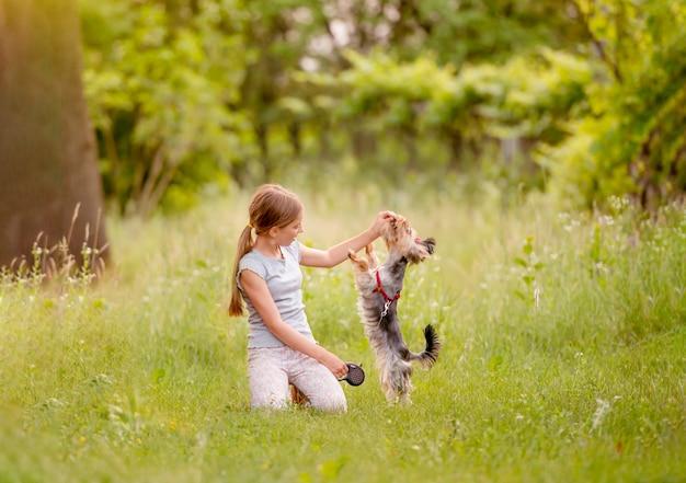 Menina brincando com cachorro terrier