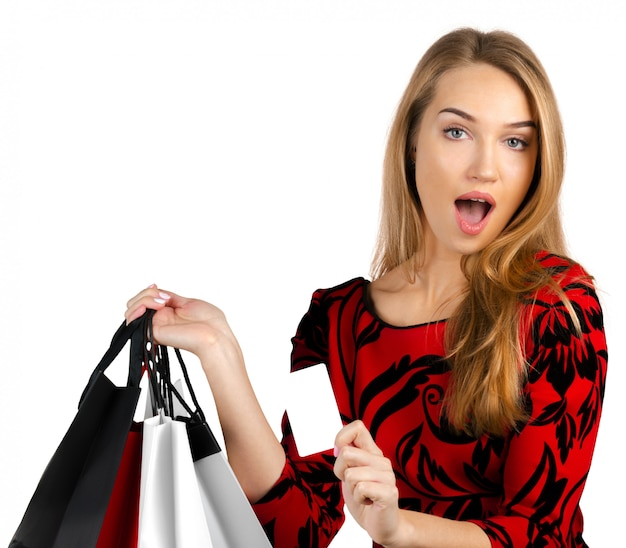 Menina, com, bolsas para compras