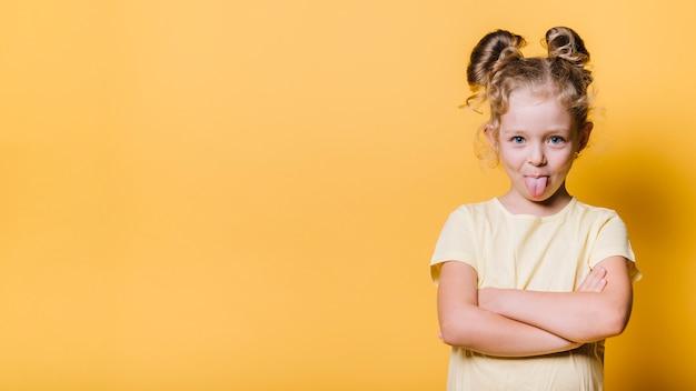 Menina, com, brincalhão, expressão