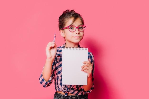 Menina, com, caderno