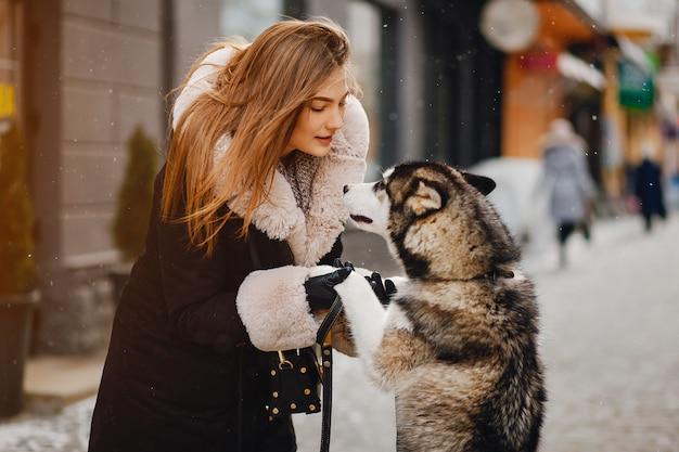 Menina, com, cão