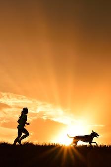 Menina, com, dela, cão