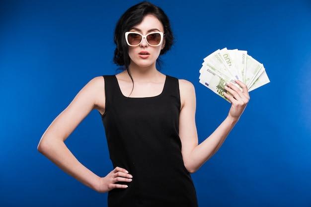 Menina, com, dinheiro