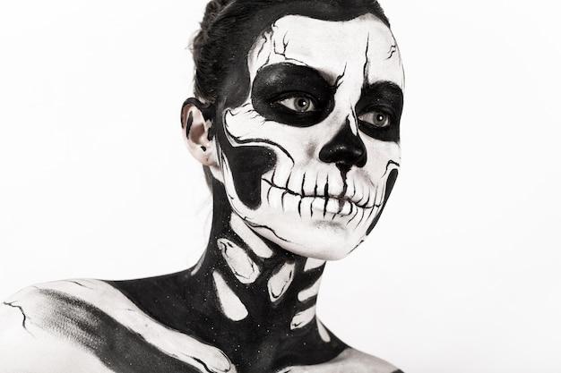 Menina, com, esqueleto, maquilagem