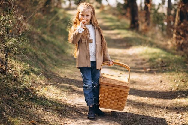 Menina com grande caixa de piquenique na floresta