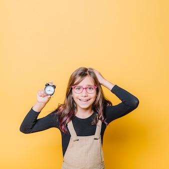Menina, com, relógio
