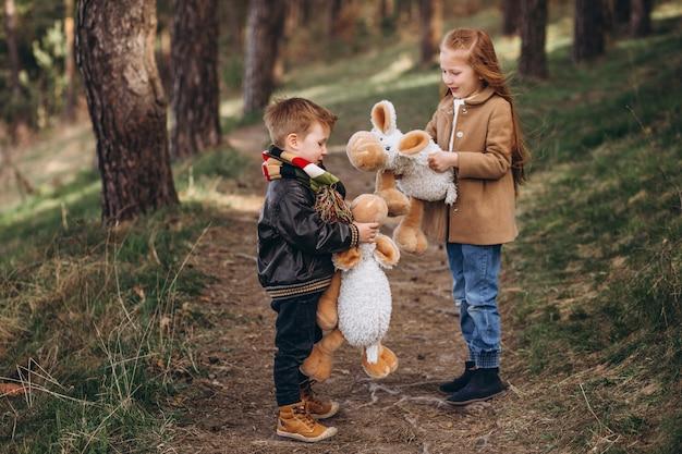 Menina com seu irmãozinho juntos na floresta