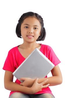 Menina, com, tablete digital