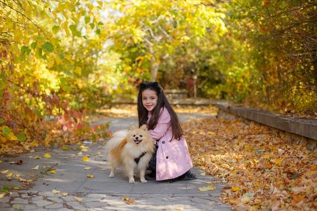 Menina com um cachorro no outono no parque para passear